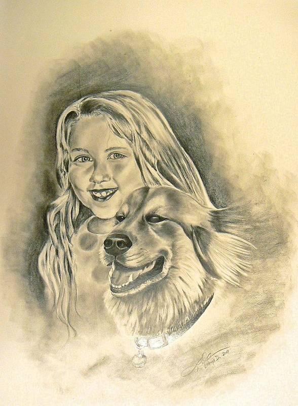 Animals Art Print featuring the drawing My Best Friend by Latonja Davis-Benson