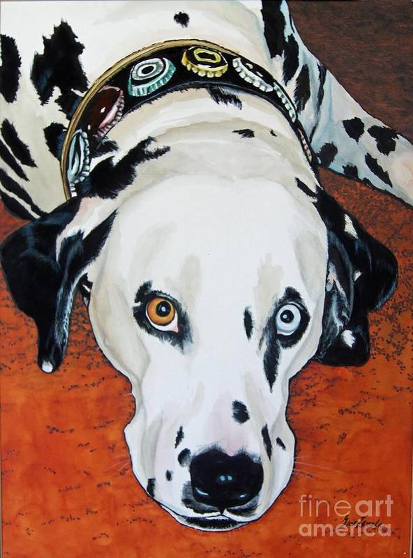 Animal Art Print featuring the painting My Cock-eyed Dog by Gail Zavala