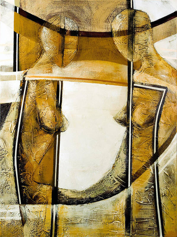 Figurative Abstract Art Print featuring the painting My Mirror 2 by Milda Aleknaite