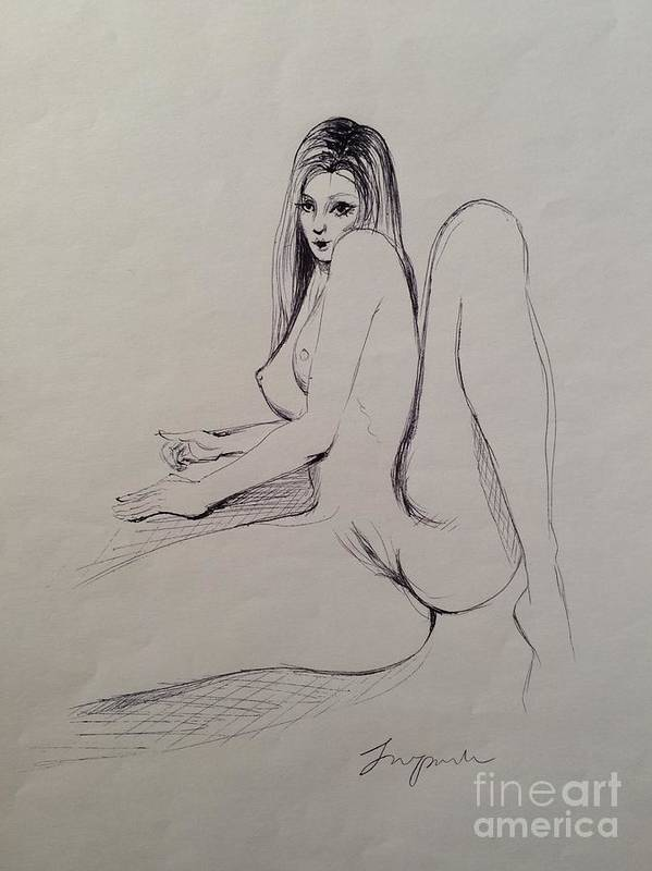 Nude Art Print Featuring The Drawing Naked Girl Ii By Jeong Won Park