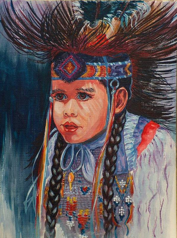 Native American Art Print featuring the painting Native American Dance by Sylvia Stone