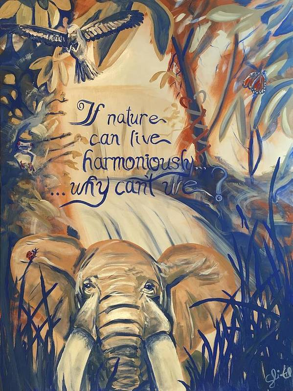 Nature Art Print featuring the painting Nature In Harmony by Sean Ivy aka Afro Art Ivy