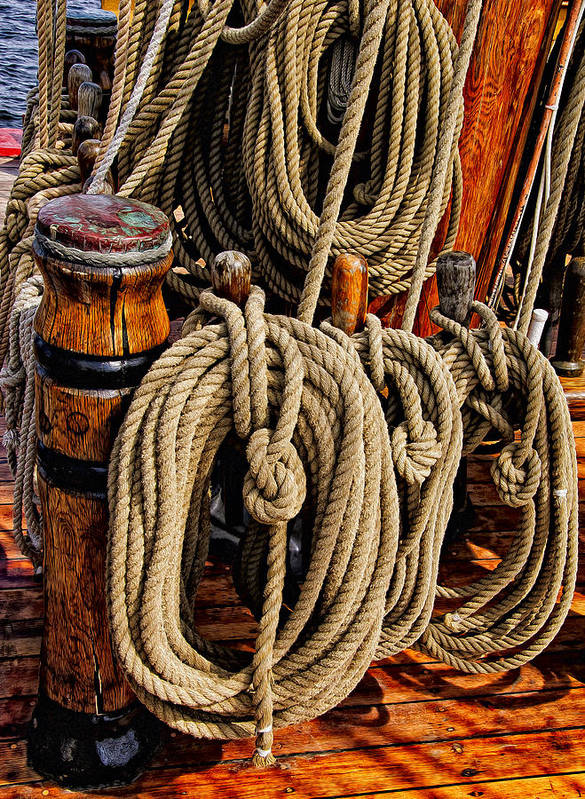 Boat Art Print featuring the photograph Nautical Knots 17 Oil by Mark Myhaver