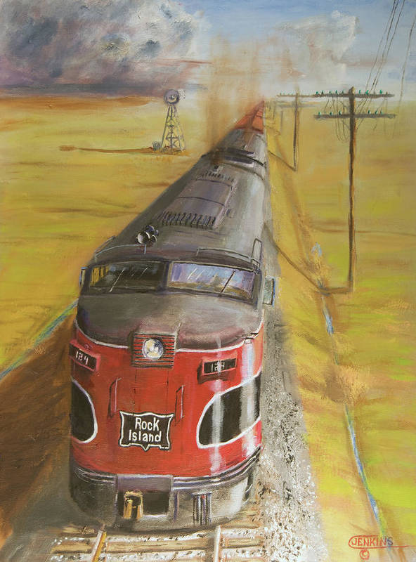 Train Art Print featuring the painting Near Thistle Ks by Christopher Jenkins