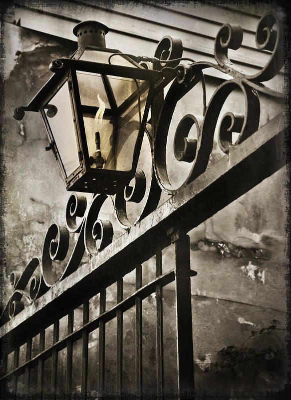 Louisiana Print featuring the photograph New Orleans Gaslight by Beth Riser