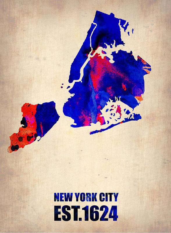 New York City Art Print featuring the digital art New York City Watercolor Map 1 by Naxart Studio
