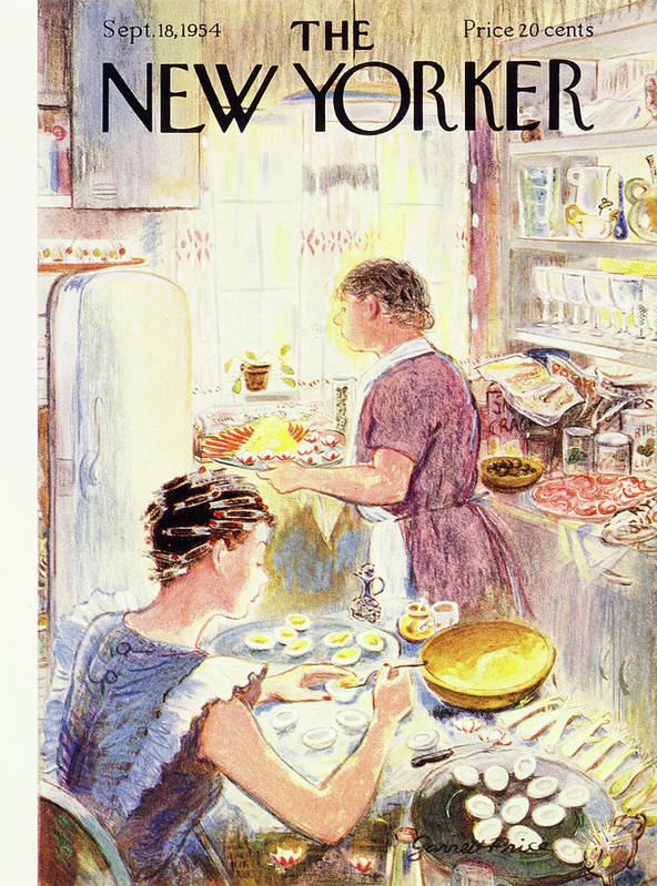 Hostess Art Print featuring the painting New Yorker September 18 1954 by Garrett Price