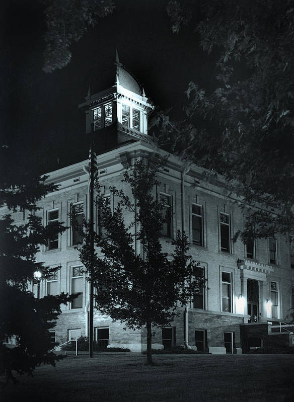 Court House Art Print featuring the photograph Night At The Court House by Jim Furrer