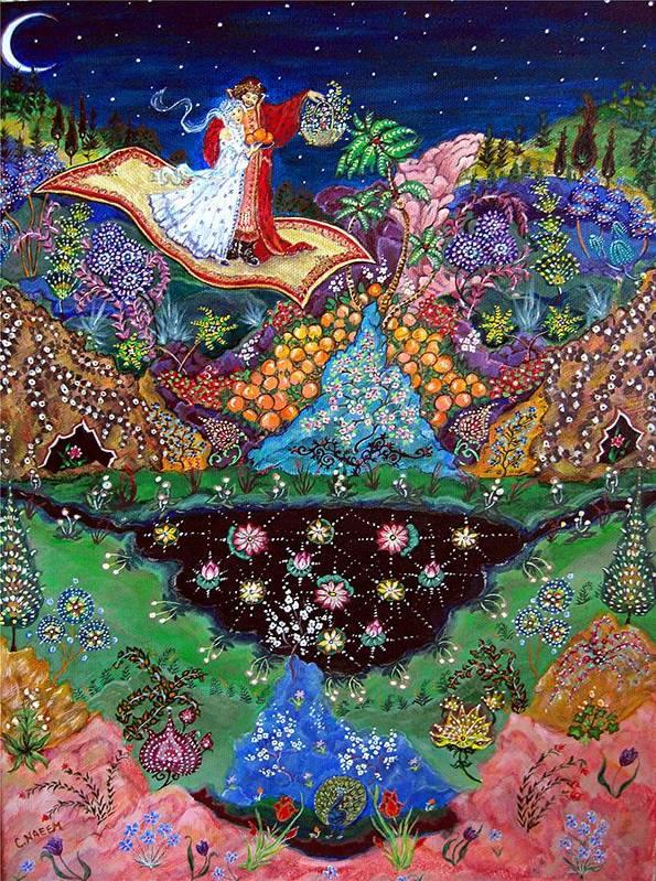 Night Art Print featuring the painting Night On The Magic Carpet by Caroline Urbania Naeem