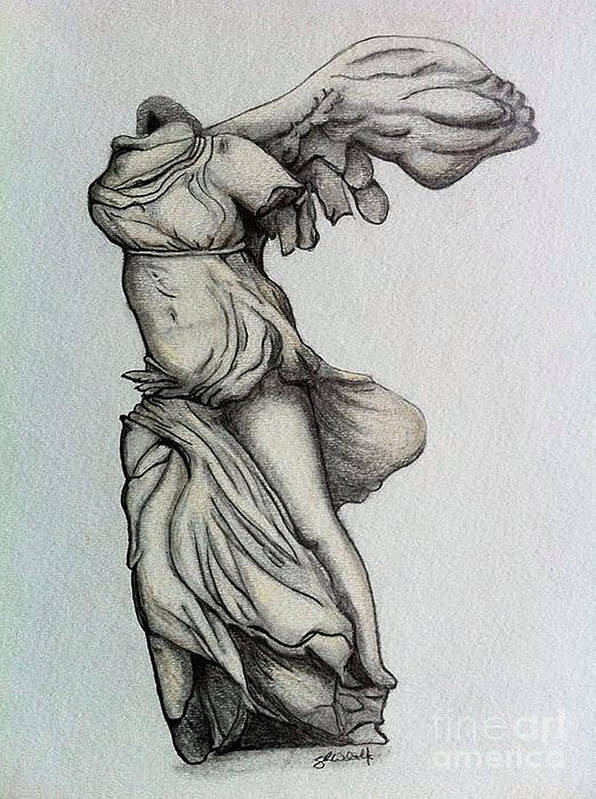 Nike Of Samothrace Art Print featuring the drawing Nike Of Samothrace by Shane Whitlock