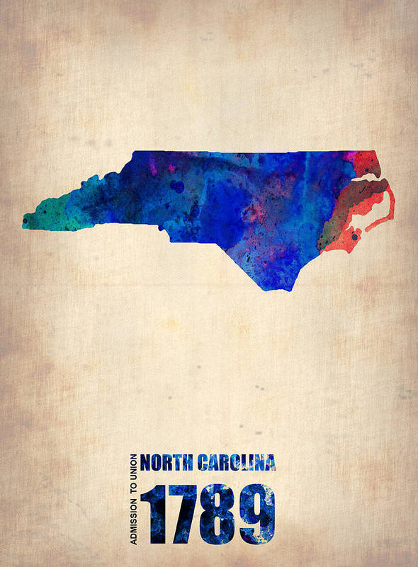 North Carolina Art Print featuring the painting North Carolina Watercolor Map by Naxart Studio