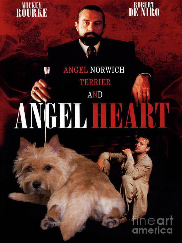 Norwich Terrier Art Print featuring the painting Norwich Terrier Art Canvas Print - Angel Heart Movie Poster by Sandra Sij
