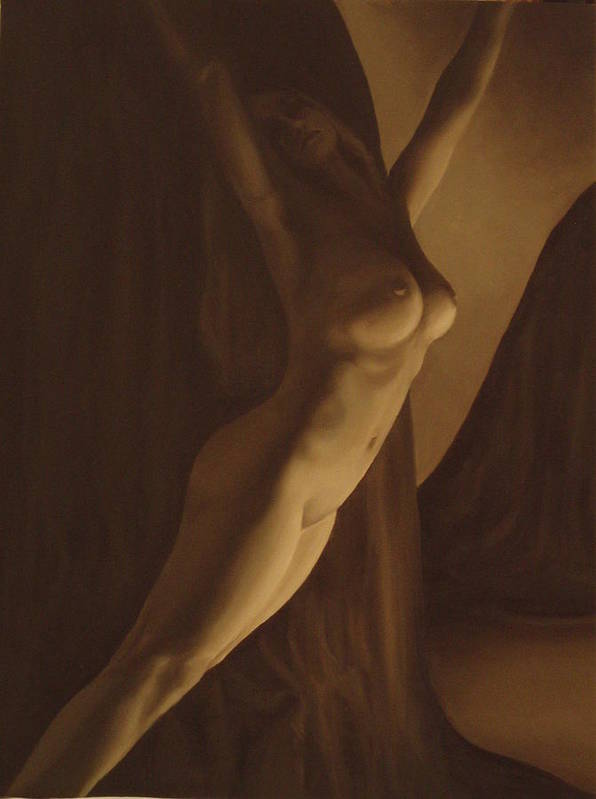 Monochromatic Art Print featuring the painting Nude Figure by Katherine Huck Fernie Howard