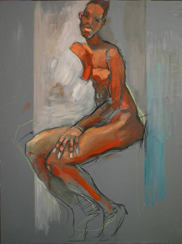 Traditional Art Print featuring the painting Nude-ste by Piotr Antonow
