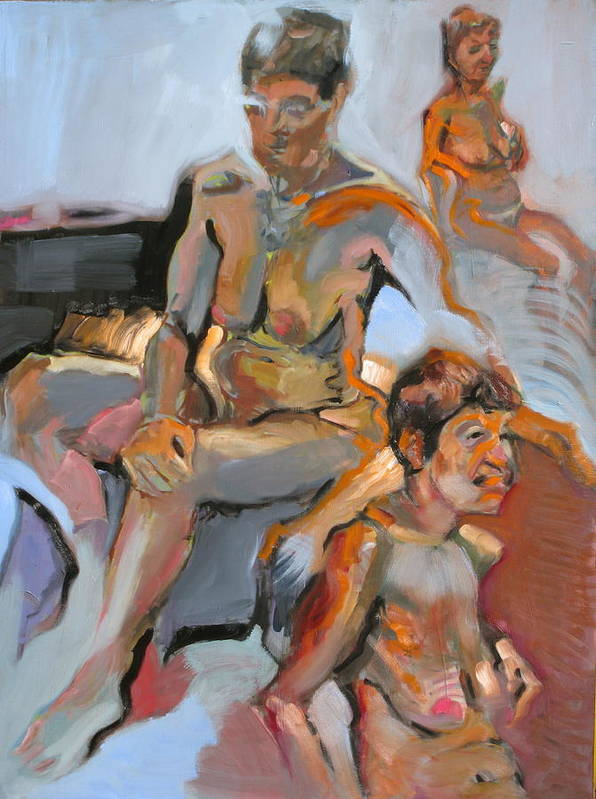 Traditional Art Print featuring the painting Nudes by Piotr Antonow