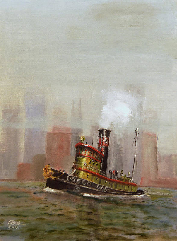 Tug Print featuring the painting Nyc Tug by Christopher Jenkins