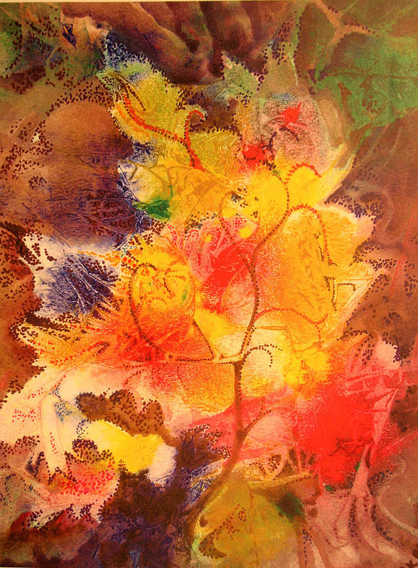 Semi-abstract Art Print featuring the painting October Song by Bill Meeker