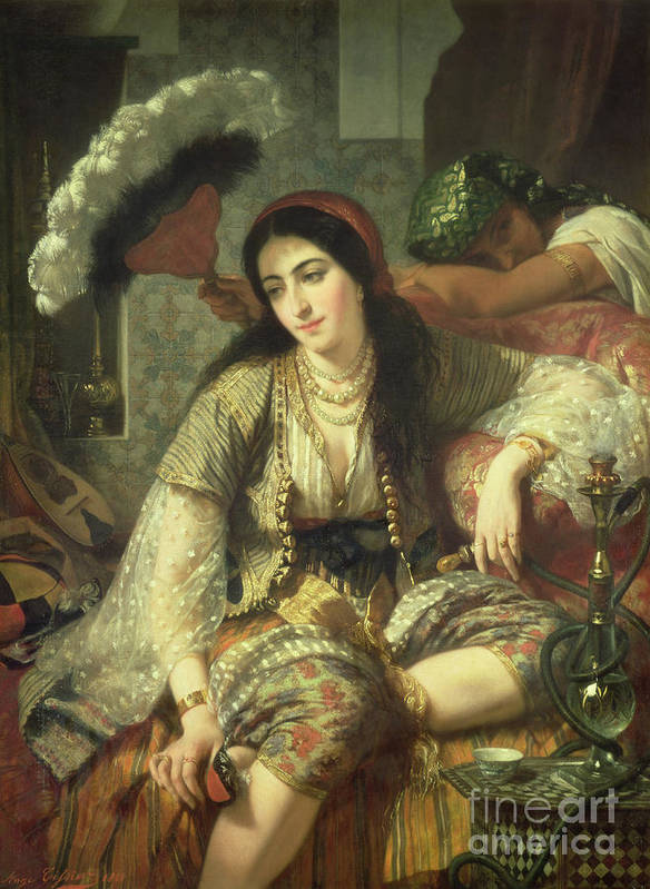 Odalisque Art Print featuring the painting Odalisque by Jean Baptiste Ange Tissier