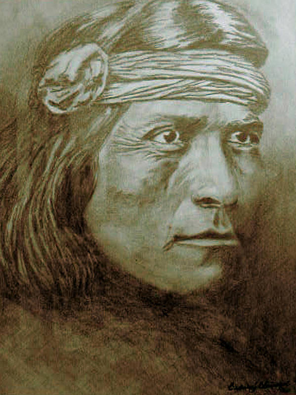 Indian Art Print featuring the drawing Old Indian Reference by Barbara J Blaisdell