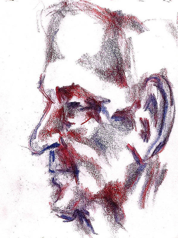 Old Art Print featuring the drawing Old Man Profile by Dannielle Murphy
