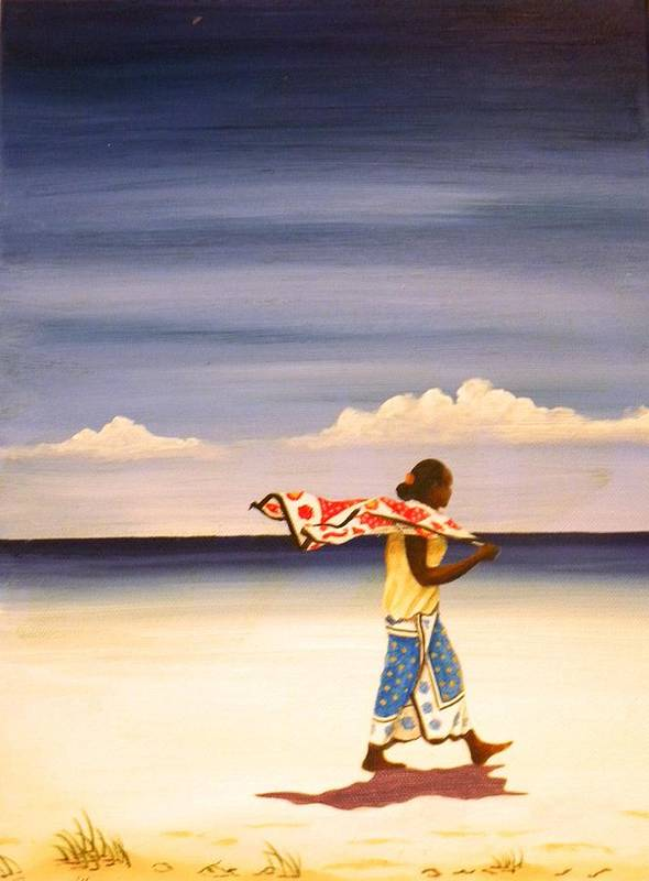 Beach Art Print featuring the painting On The Way Home by Anina von Wachtel Diani Beach Art Gallery