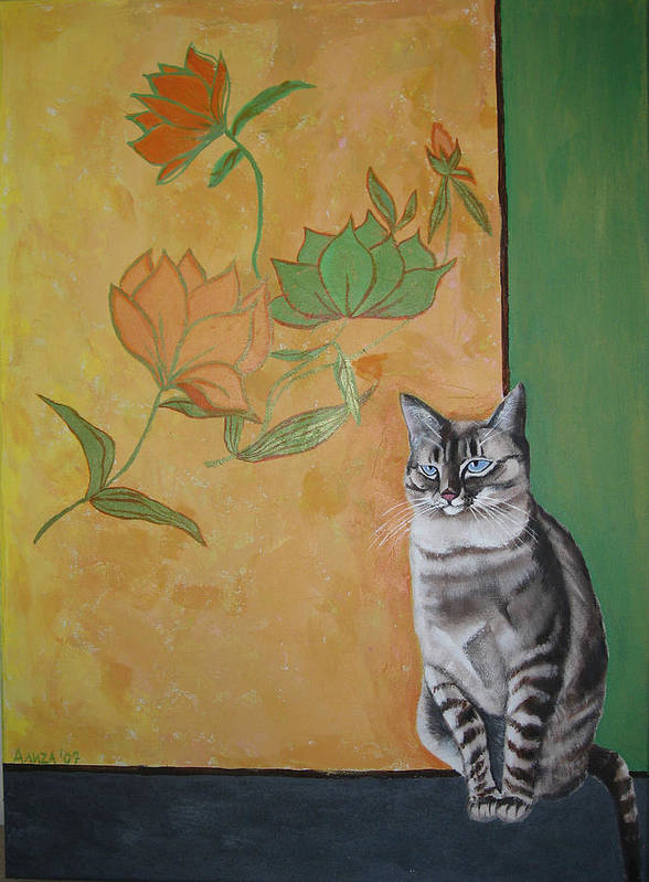 Cat Art Print featuring the painting Oomka by Aliza Souleyeva-Alexander