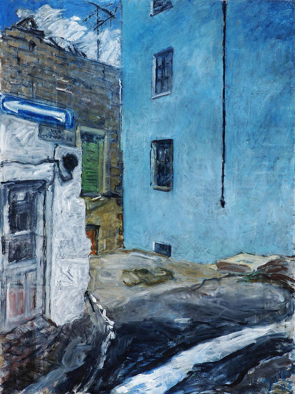 Sardinia House Blue Street Old Art Print featuring the painting Orgosolo by Joan De Bot