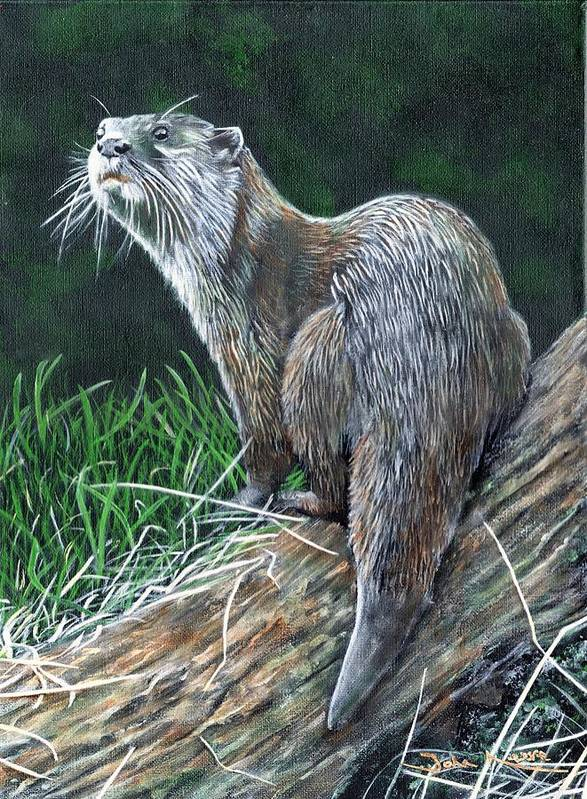 Otter Art Print featuring the painting Otter On Branch by John Neeve