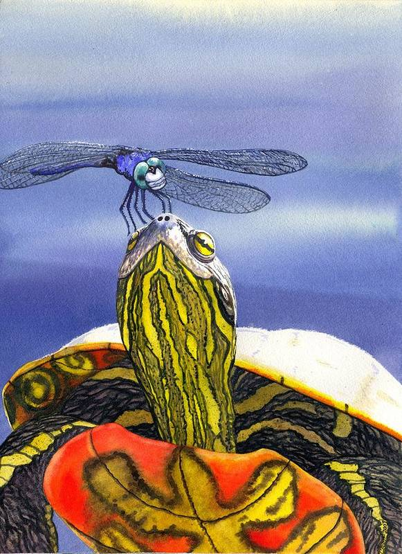 Turtle Art Print featuring the painting Painted Turtle And Dragonfly by Catherine G McElroy