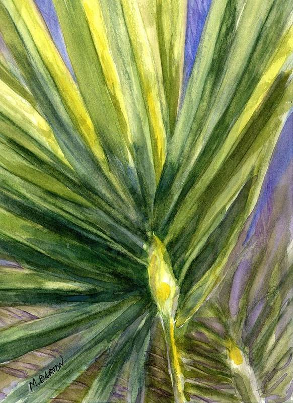 Palm Art Print featuring the painting Palm Frond by Marilyn Barton