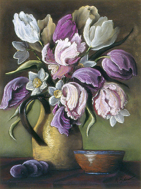 Still Life Art Print featuring the pastel Parrot Tulips In Yellow Pitcher by Michael Scherer