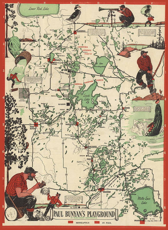 graphic about Printable Maps of Minnesota referred to as Paul Bunyans Playground - Northern Minnesota - Common Illustrated Map - Cartography Artwork Print