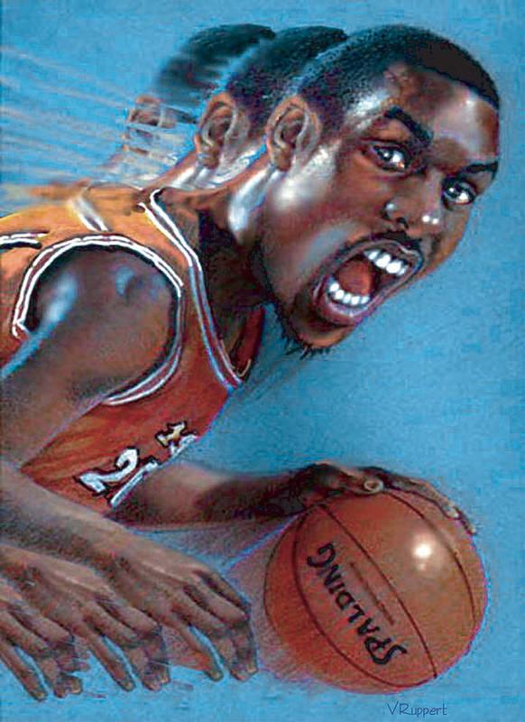 Basketball Art Print featuring the pastel Payton by Lash Larue