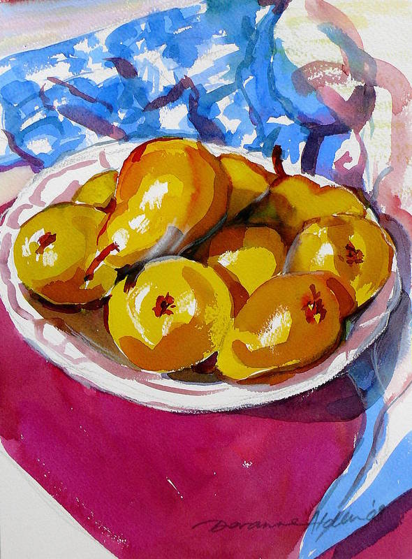 Still Life Art Print featuring the painting Pears Project by Doranne Alden