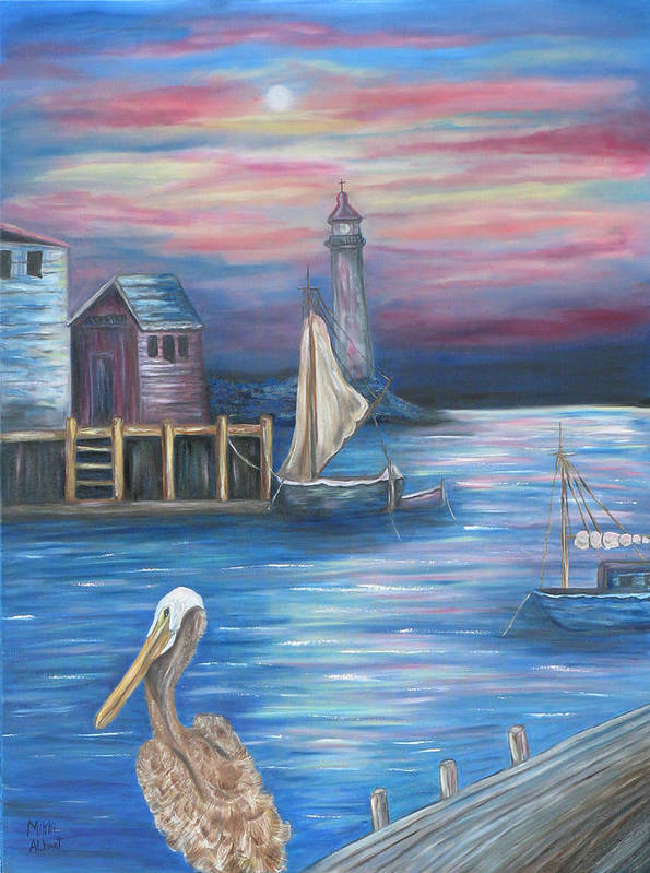 Sunset Art Print featuring the painting Pelican Port by Mikki Alhart