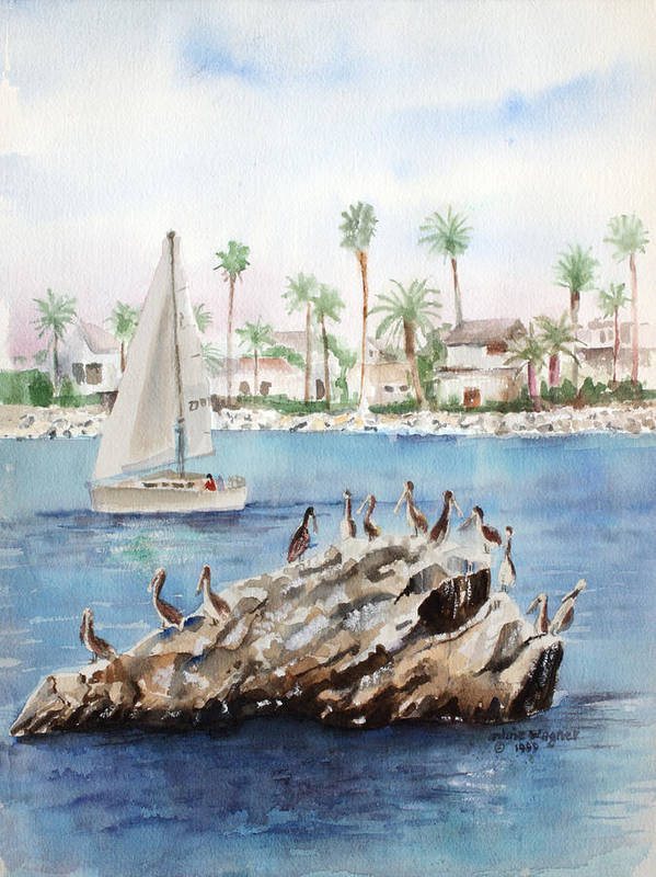 Pelicans Art Print featuring the painting Pelican Rock by Arline Wagner