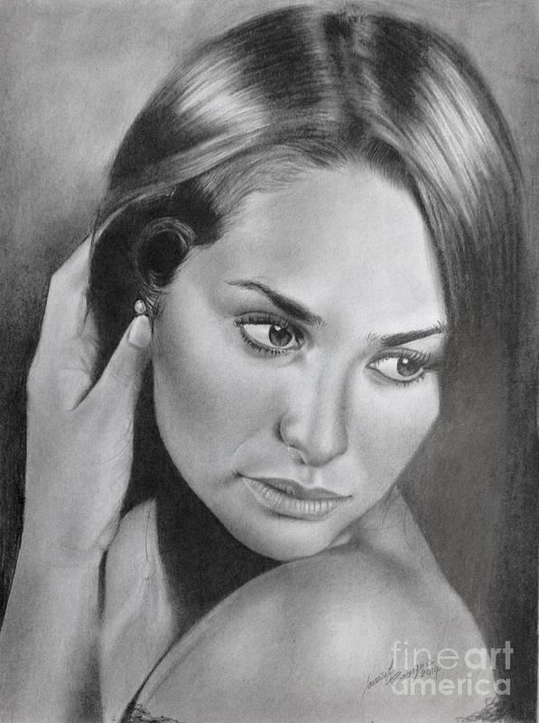 Pencil Drawing Beautiful Girl Art Print