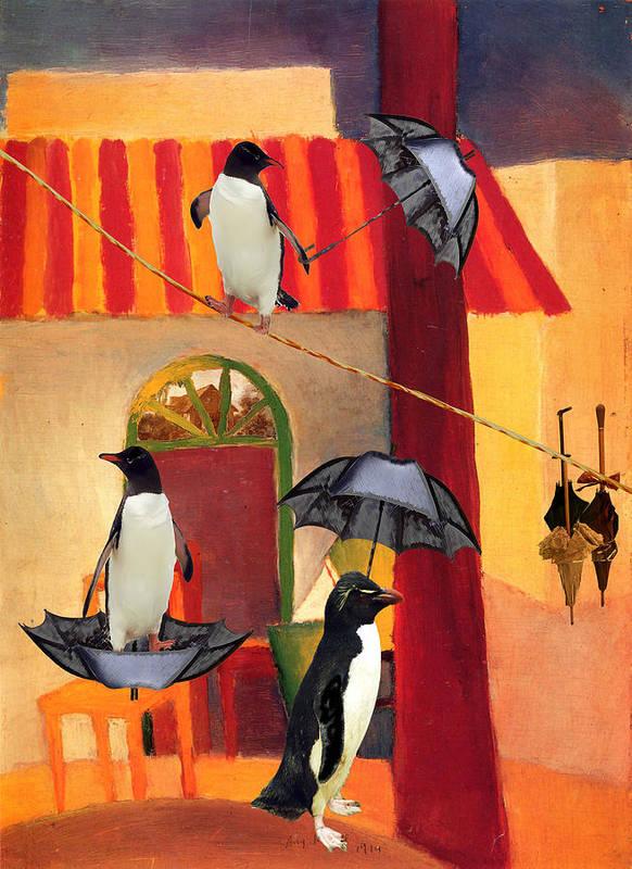 Penguins Art Print featuring the digital art Penguin Cafe by Sarah Vernon
