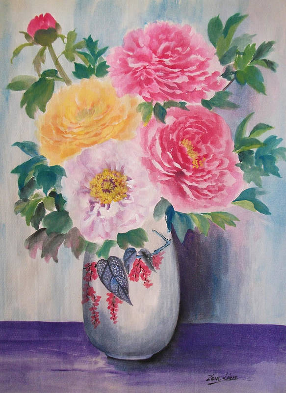 Flowers Art Print featuring the painting Peonies by Lian Zhen