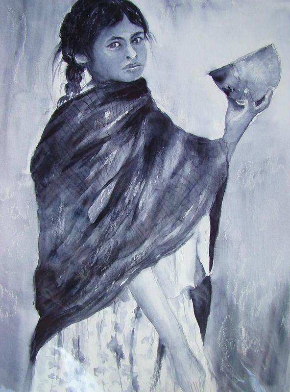 Peru Art Print featuring the painting Peruvian Girl by Myra Evans