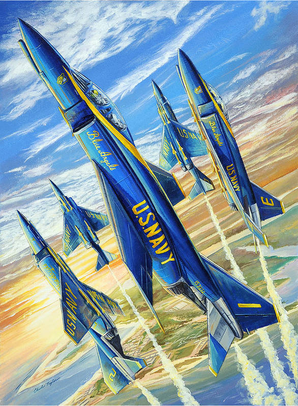 Blue Angels Art Print featuring the painting Phantom Angels by Charles Taylor