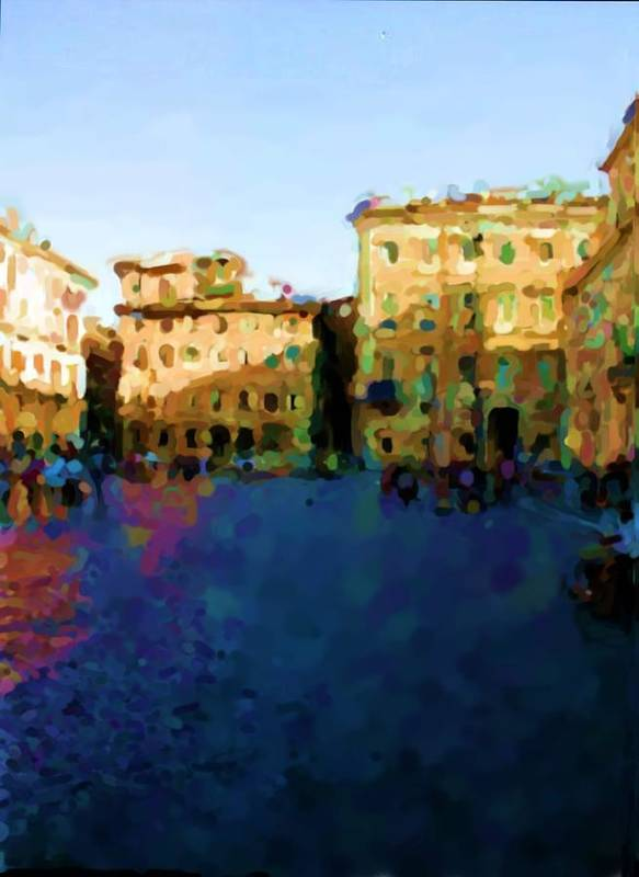 Piazza Navona In Rome Art Print featuring the photograph Piazza Navona In Rome by Asbjorn Lonvig