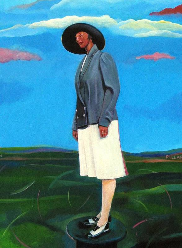 Woman Art Print featuring the painting Pillars Series Florence In Black Hat by Joyce Owens