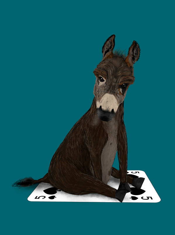 Donkey Art Print featuring the painting Poker Donkey by Dan Pearce
