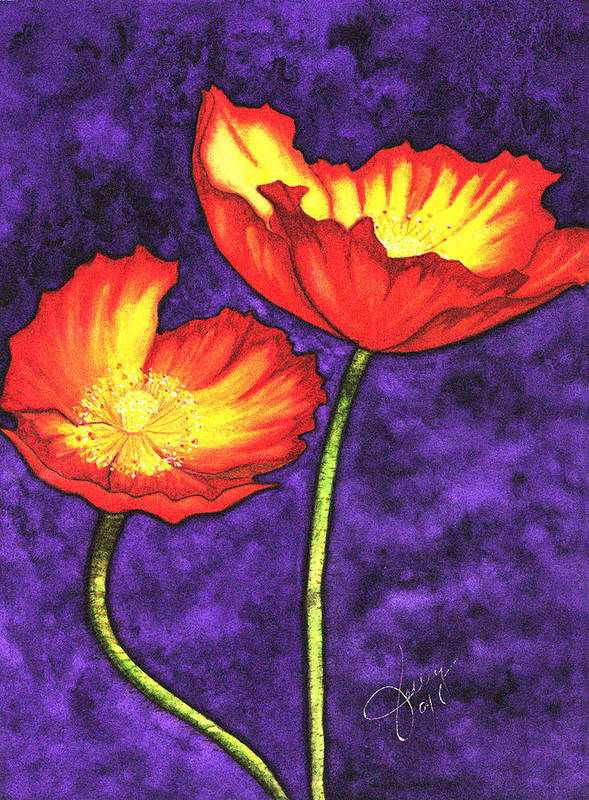 Watercolor Art Print featuring the painting Poppies by Stephanie Jolley