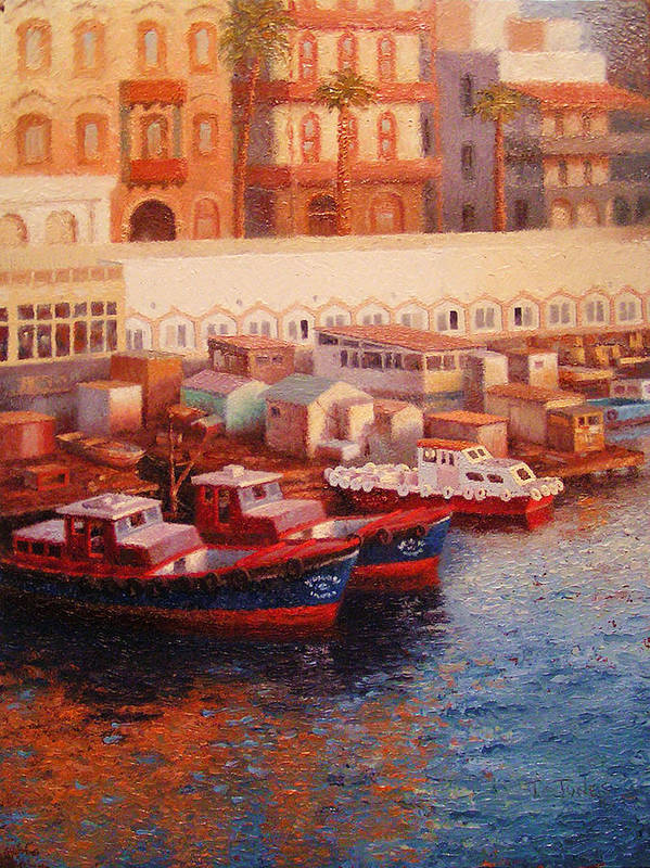 Boats Art Print featuring the painting Port Said At Dawn by Timothy Jones