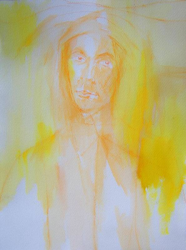 Abstract Art Print featuring the painting Portrait In Yellow by Judith Redman