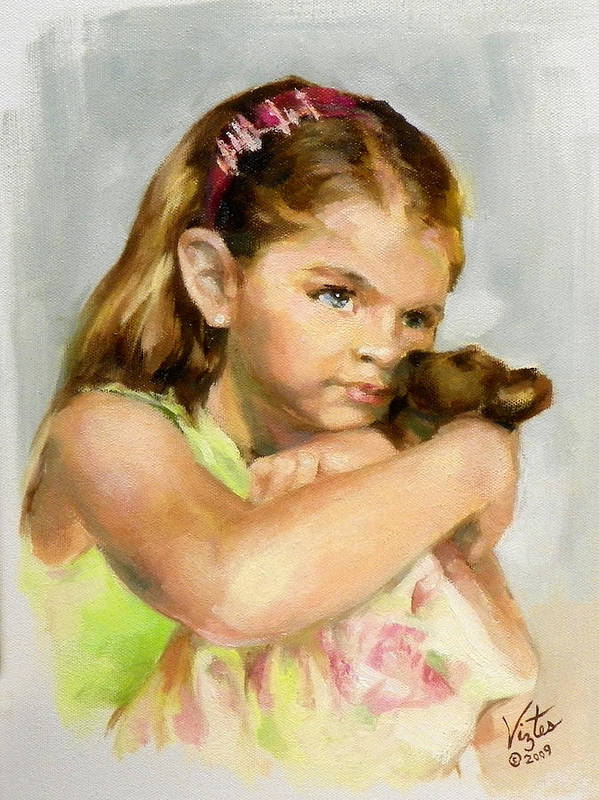 Liz Viztes Art Print featuring the painting Portrait Of A Young Girl With Toy Bear by Liz Viztes