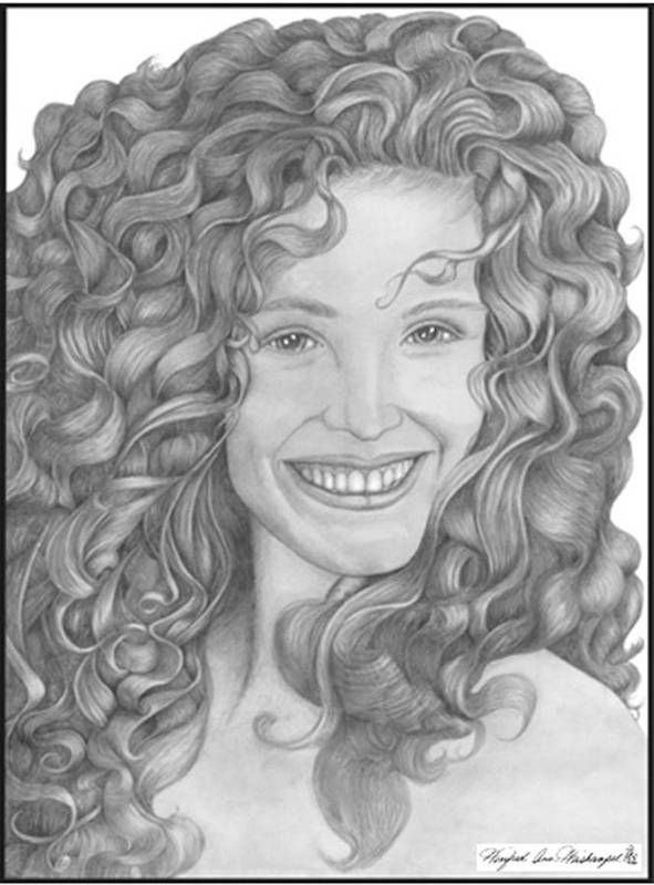 Portraits Art Print featuring the drawing Pretty Woman by Winifred Ann Weishampel