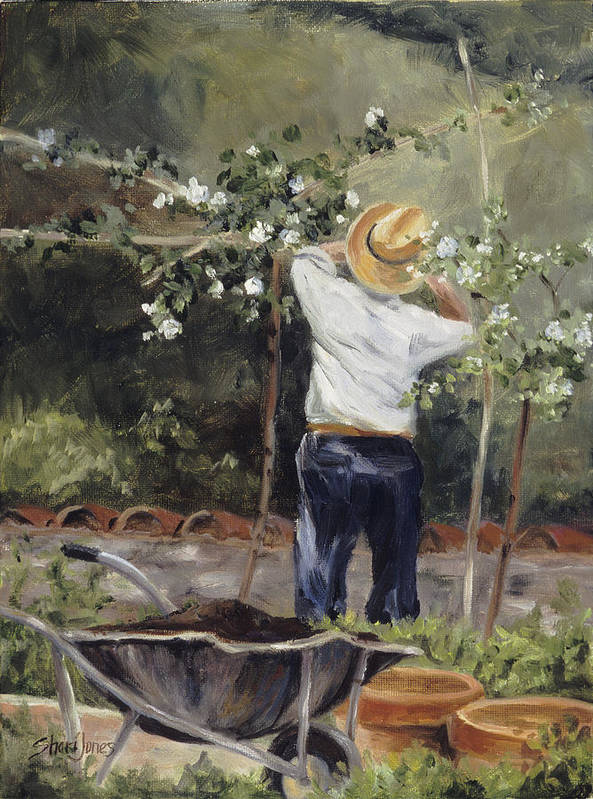 Rose Pruning Art Print featuring the painting Pruning Time In Umbria by Shari Jones
